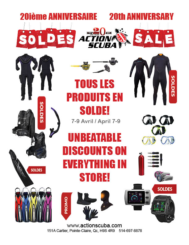 20th anniversary montreal scuba diving equipment sale
